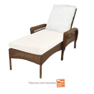 Hampton bay spring haven brown wicker patio chaise lounge for Chaise cushion slipcover