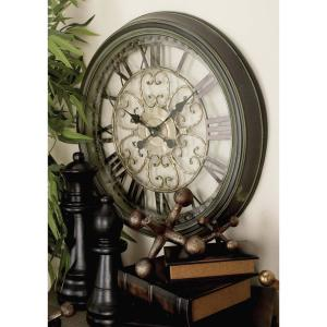 24 inch New Traditional Round Scrollwork Wall Clock