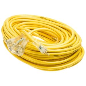 YELLOW JACKET 100 ft. 12/3 SJTW Extension Cord with 3 Outlet Power Block