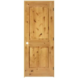 Steves & Sons 2-Panel Roundtop Unfinished Knotty Alder Prehung Interior Door