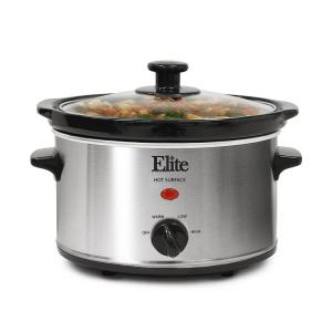 Elite Gourmet 2 Qt. Oval Stainless Steel Finish Slow Cooker by