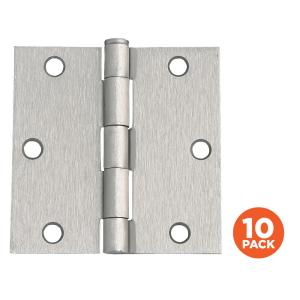 Design House 3-1/2 inch Square Corner Satin Nickel Door Hinge Value Pack (10 per... by Design House