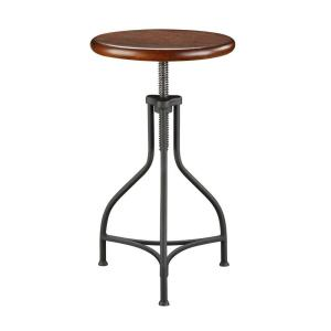 Carolina cottage adjustable logan metal bar stool with wood seat 1330chetbk the home depot Home depot wood bar stools
