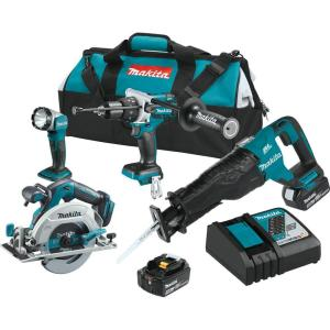 Makita 18-Volt LXT 5.0Ah Lithium-Ion Brushless Cordless 4-Piece Combo Kit (Hammer... by