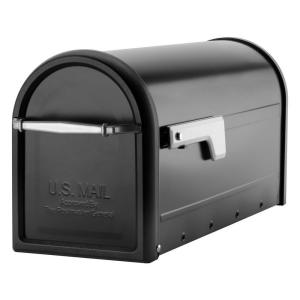 Architectural Mailboxes Chadwick Nickel Accents Black Post Mount Mailbox by Architectural Mailboxes