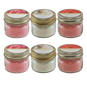 Lumabase Scented Candles - Floral Collection in 3 oz. Glass Mason Jars (6 Count) by