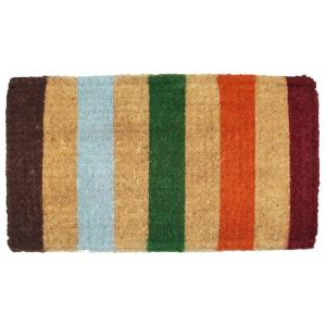 J & M Home Fashions Imperial Stripe 18 inch x 30 inch Coir Door Mat by