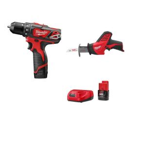 "Milwaukee M12 12-Volt 3/8"" Lithium-Ion Cordless Drill/Driver Hackzall Combo Kit (2493-22) $99"