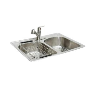 Glacier Bay All In One Drop In Stainless Steel 33 In 2 Hole Double Bowl Kitchen Sink Sm2033 F