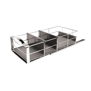 simplehuman 9 inch Pull-Out Cabinet Organizer in Polished Chrome and Grey by