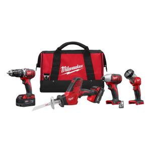 Milwaukee M18 18-Volt Lithium-Ion Cordless Hammer Drill/HACKZALL/Impact Driver/Light Combo Kit (4-Tool) by