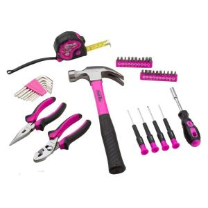 The Original Pink Box Multi-Purpose Tool Set with 12 in. Tool Bag in Pink (30-Piece)