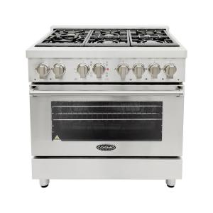 Click here to buy Cosmo 36 inch 4.5 cu. ft. Single Oven Dual Fuel Range with 6 Italian Gas Burners and Convection Oven in Stainless Steel by Cosmo.