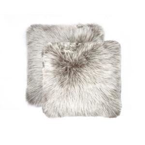 Belton Gray 18 inch x 18 inch Faux Sheepskin Decorative Pillow (Set of 2) by