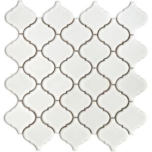 Merola Tile Lantern 12-1/2 in. x 12-1/2 in. White Porcelain Mesh-Mounted Mosaic Tile