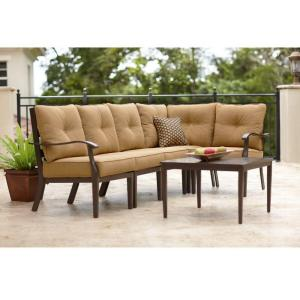 Home Decorators Collection Grayton 6-Piece Patio Sectional Sofa Set In Camel-DISCONTINUED