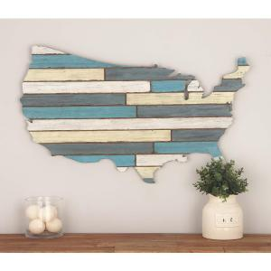 Click here to buy  19 inch x 36 inch Wooden USA Wall Decor in Distressed Blue and White.