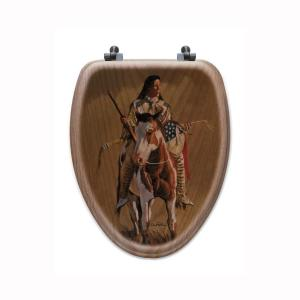 Ghost of the Plains Elongated Closed Front Wood Toilet Seat in Oak Brown