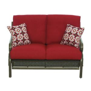 Martha Stewart Living Cedar Island All-Weather Wicker Patio Loveseat with Dragon Fruit Cushions