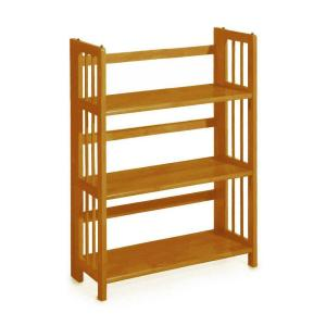 Home Decorators Collection Honey Oak Folding Stacking Open Bookcase 3323210830 The Home Depot