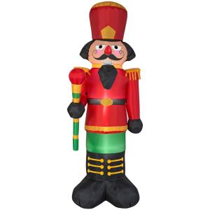 Home accents holiday 6 5 ft inflatable airblown red for 4 foot nutcracker decoration