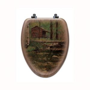 Autumn Hideaway Elongated Closed Front Wood Toilet Seat in Oak Brown