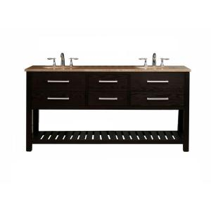Virtu USA Clementina 72 in. Double Basin Vanity in Dark Espresso with Natural Stone Vanity Top in Travertine