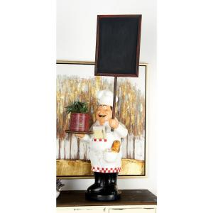 Multi-Colored Polystone Standing Chef Figurine and Chalkboard by