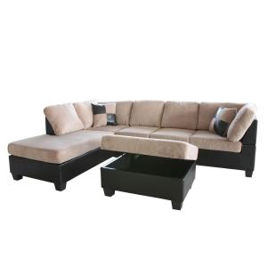 Venetian worldwide taylo left sectional sofa and ottoman for Taylor sectional sofa and ottoman dark brown