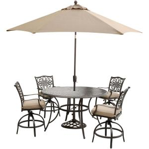 Hanover Traditions 5-Piece Round Outdoor Bar H8 Dining Set with Swivel Chairs,... by Hanover