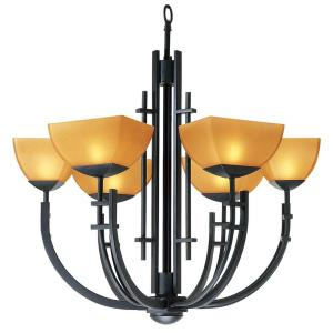 Access Lighting 6-Light Chandelier Antique Bronze Finish Amber Glass
