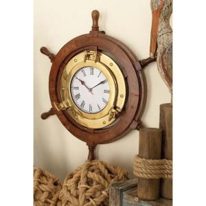 18 inch x 18 inch Brass and Wood Shipwheel Wall Clock by