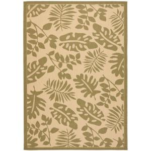 Martha Stewart Living Paradise Cream/Green 6 ft. 7 in. x 9 ft. 6 in. Indoor / Outdoor Area Rug