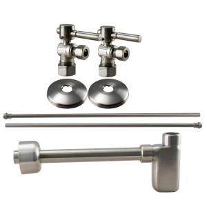 Westbrass 1/2 in. Nominal Compression Lever Handle Angle Stop Complete Pedestal Sink Installation Kit in Satin Nickel