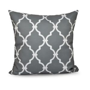 16 inch x 16 inch Trellis Grey Decorative Pillow by