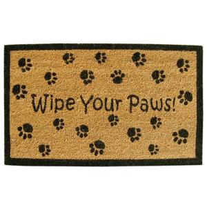 Inspired Accents Wipe Your Paws 18 inch x 30 inch SuperScraper Vinyl/Coir Door Mat by