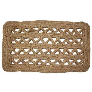 J & M Home Fashions Chain Rectangle Woven 18 inch x 30 inch Coir Door Mat by