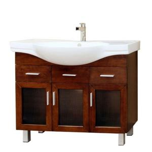 Bellaterra Home Metro 40 inch Single Vanity in Walnut with Porcelain Vanity Top in White by