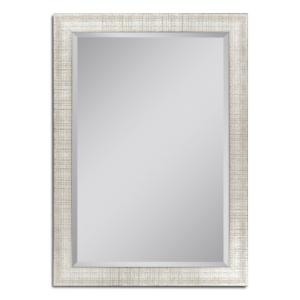 Deco Mirror 36 inch W x 46 inch H Textured Mesh Wall Mirror in Platinum by Deco Mirror