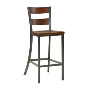 Cabin creek distressed chestnut wood and metal counter stool 5411 88 the home depot Home depot wood bar stools