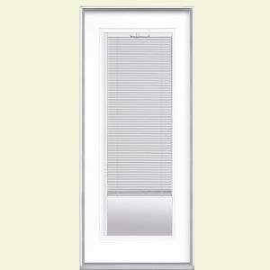 Masonite 32 in x 80 in mini blind primed steel prehung for Home depot front door window inserts