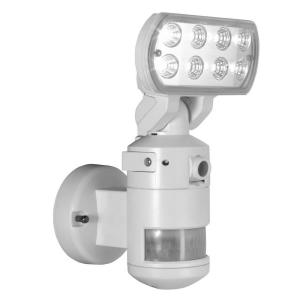 NightWatcher Security 60 ft. 220-Degree Outdoor White Motion-Tracking LED Security Light with Built-In Security Camera