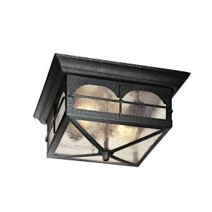 Hampton Bay 2 Light Aged Iron Outdoor Flushmount HB7045 292 The Home Depot