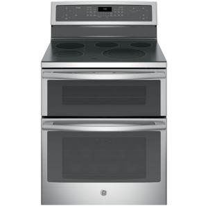 Click here to buy GE Profile 30 inch 6.6 cu. ft. Double Oven Electric Range with Self-Cleaning Convection Oven (Lower Oven) in Stainless Steel by GE Profile.
