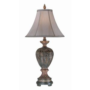 Illumine Designer Collection 33.25 in. Bronze Finish Table Lamp with Dark Tan Fabric Shade