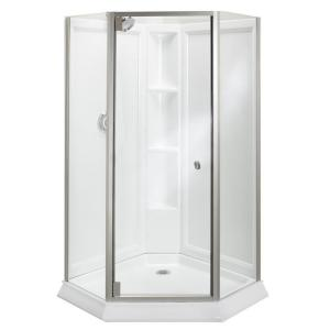 Kit with Shower Door in White/Silver-2375-42S-G05 - The Home Depot