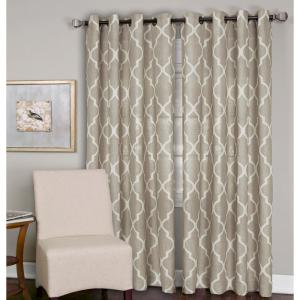 Semi-Opaque Medalia Linen Grommet Top Window Curtain Panel - 52 inch W x 95 inch L by