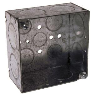 RACO 4 inch Square Welded Box, 2-1/8 inch Deep with 1/2, 3/4, & 1 inch KO