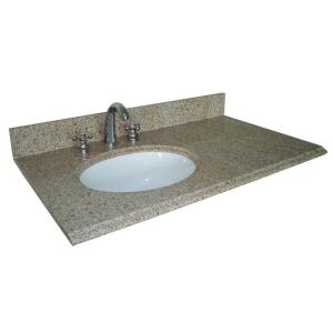 Pegasus 37 in. W Granite Vanity Top with Offset Left Bowl and 8 in. Faucet Spread in Beige