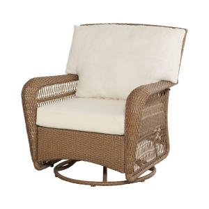Martha Stewart Living Charlottetown Natural All Weather Wicker Patio Swivel Rocker Lounge Chair